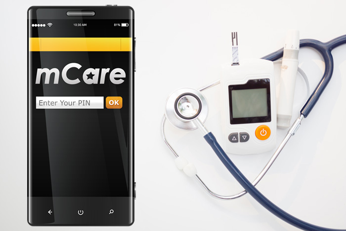 Photo of mCare app with diabetes monitor
